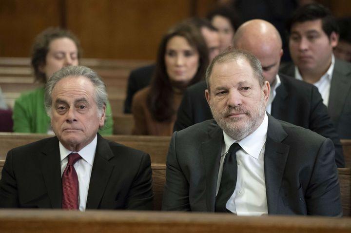 Benjamin Brafman et Harvey Weinsteinau tribunal de New York, le 25janvier2019. (STEVEN HIRSCH/AP/SIPA)