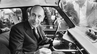 Valéry Giscard d'Estaing, candidat UDF à l'élection présidentielle de 1974, vient de voter à Chanonat (Puy-de-Dôme), le 19 mai 1974. (- / AFP)