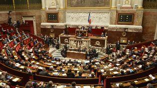 Le Premier ministre, Manuel Valls, lors d'un discours à l'Assemblée nationale, à Paris, le 29 avril 2014. (ERIC FEFERBERG / AFP)