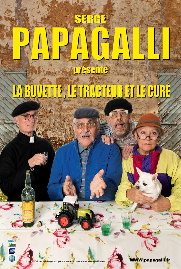 """Affiche de la pièce """"La buvette, le tracteur et le curé"""" (Comédie du Dauphiné)"""