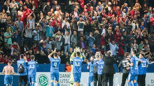 Les joueurs de l'équipe nationale du Kosovo saluent leurs supporters après un match contre les îles Féroé, à Francfort (Allemagne) le 3 juin 2016 (FRANK RUMPENHORST / DPA)