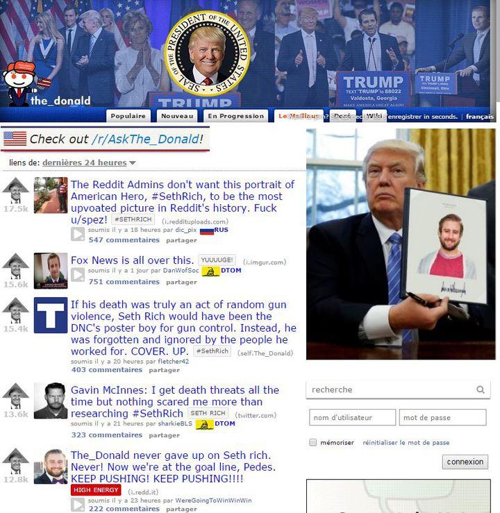"""Capture d'écran des messages les plus """"aimés"""" sur le subreddit /r/The_Donald depuismardi 16 mai 2017. (/R/THE_DONALD)"""