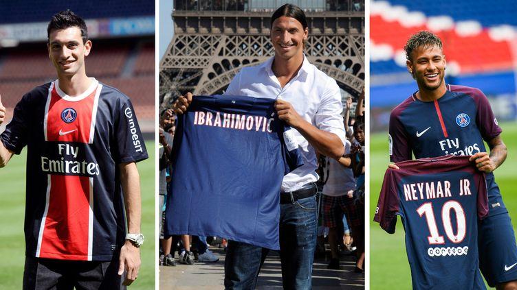 Javier Pastore, Zlatan Ibrahimovic et Neymar sont trois des transferts les plus emblématiques du PSG depuis l'arrivée des propriétaires qataris. (AFP)