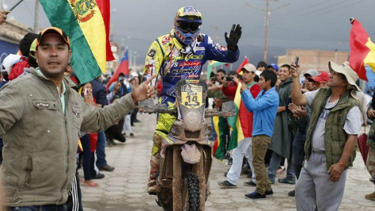 Alain Duclos (Sherco) fêté par le public bolivien
