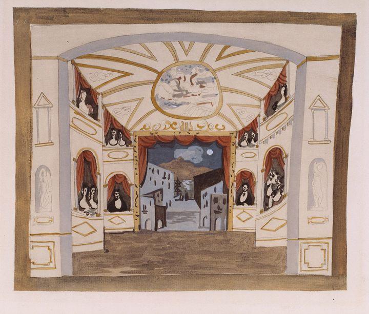 Picasso : Étude de décor pour le ballet Pulcinella [ca. 1920] Procédé Jacomet (gouache appliquée au pochoir sur impression phototypique) - BnF / Bibliothèque-musée de l'Opéra  (Succession Picasso 2018)