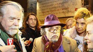 Michael Lonsdale au côté de Jean-Michel Ribes, jeudi soir à Paris  (Francois Mori/AP/SIPA)