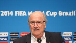 Sepp Blatter, président de la Fifa, lors d'une conférence de presse à Rio de Janeiro (Brésil), le 14 juillet 2014. (FABIO MOTTA / ESTADAO CONTEUDO / AFP)