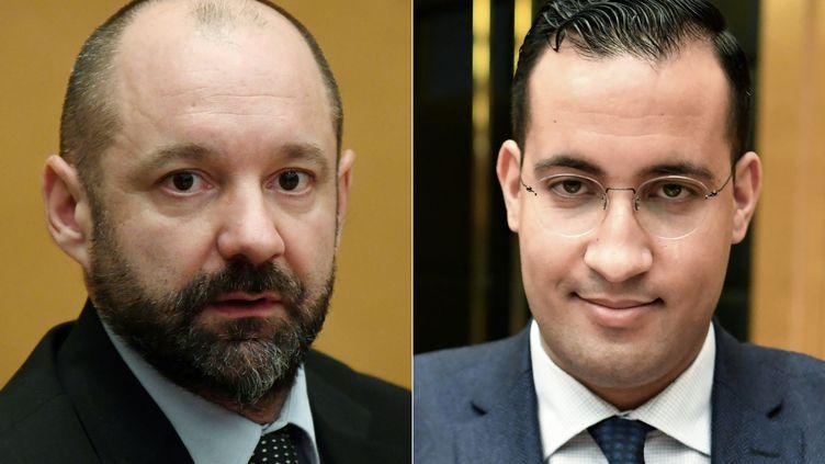 Vincent Crase, lors de son audition par la commission du Sénat en janvier 2019, et Alexandre Benalla,lors de la levée de sa détention provisoire, le 26 février dernier. (ALAIN JOCARD / AFP)