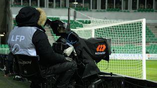 Retansmission d'un match de football à Saint-Etienne, en février 2021. (RICHARD MOUILLAUD / MAXPPP)