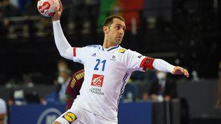 Michaël Guigou a passé la barre des 1000 buts en équipe de France, mardi 27 avril. (SYLVAIN THOMAS / AFP)