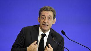 Nicolas Sarkozy lors d'une meeting des Républicains, à Paris, le 13 juin 2015. (ALAIN JOCARD / AFP)