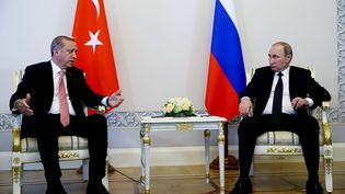 Les présidents turc (Recep Tayyip Erdogan) et russe (Vladimir Poutine), à Saint Pétersbourg, en Russie, le 9 août 2016. (KAYHAN OZER / ANADOLU AGENCY / AFP)