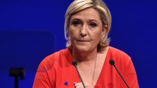 La présidente du Front national, Marine Le Pen, le 11 mars 2017, lors d'un meeting à Deols (Indre). (GUILLAUME SOUVANT / AFP)