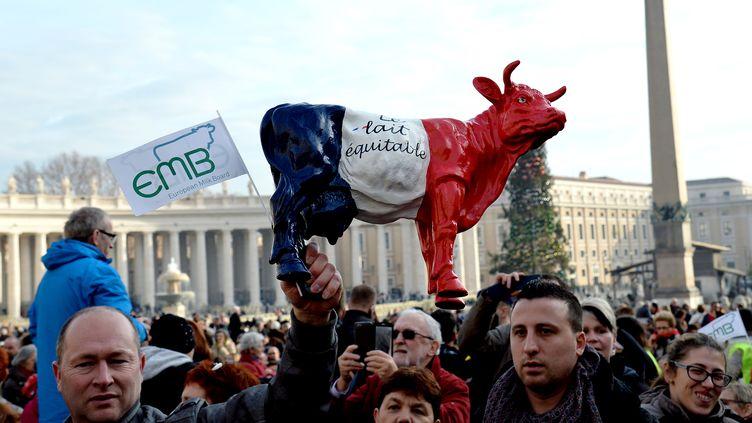 Des membres de l'European Milk Board (EMB) soulèvent unevache portant les couleurs du drapeau français sur la place Saint-Pierre, au Vatican, pour son audience générale, le 27 janvier 2016. (ALBERTO PIZZOLI / AFP)