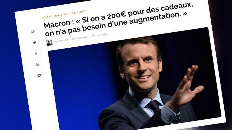 """Capture écran du site parodique """"franchetvinfo.com"""" (FRANCEINFO / RADIOFRANCE)"""