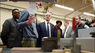 Le ministre de l'Education national Jean-Michel Blanquer lors d'une visite au lycée professionnel Auguste Perdonnet à Thorigny-sur-Marne, le 16 février 2018. (LUC NOBOUT / MAXPPP)