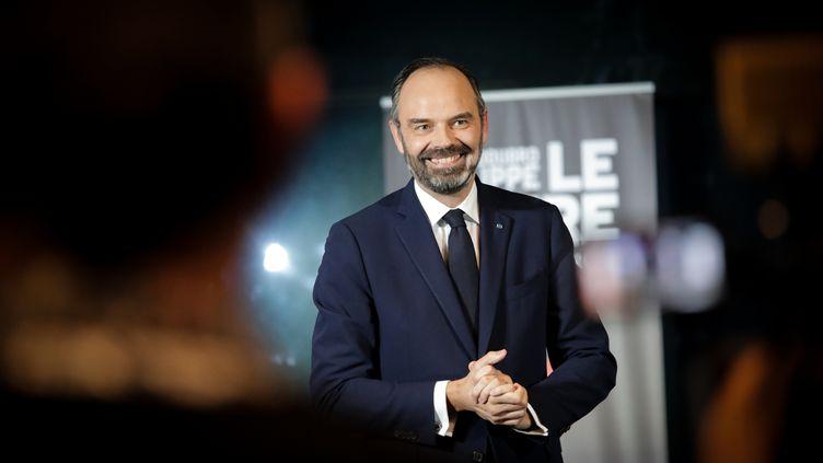 Le Premier ministre Edouard Philippe au cours de sa campagne municipale au Havre (Seine-Maritime), le 20 février 2020. (LOU BENOIST / AFP)