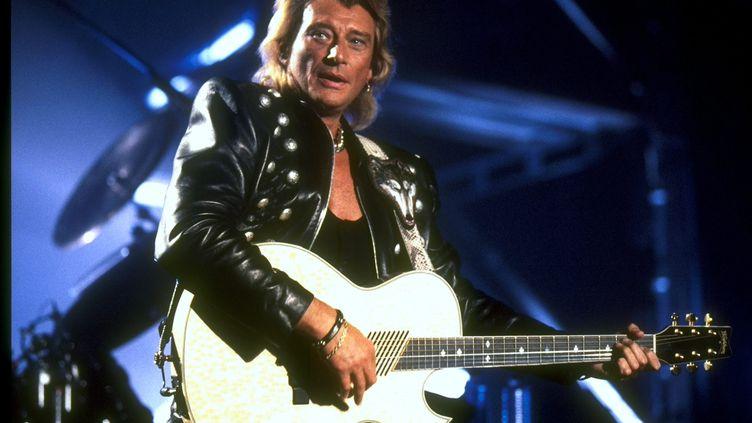 Johnny Hallyday sur scène en Lorraine, en 1995. (MAXPPP)