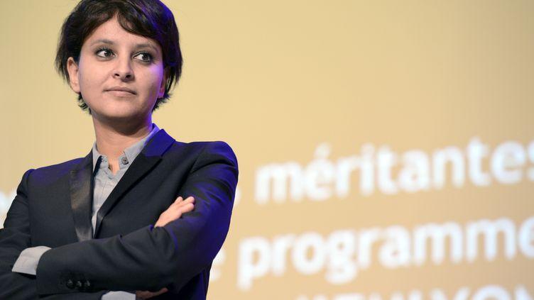 La ministre des Droits des femmes Najat Vallaud-Belkacem, le 30 janvier 2014 à Ecully (Rhône). (JEAN-PHILIPPE KSIAZEK / AFP)