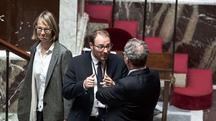 La ministreFrancoise Nyssen, et les députés LREM Denis Masseglia et Richard Ferrand.à l'Assemblée nationale, le 25 octobre 2017 (NICOLAS MESSYASZ / SIPA)