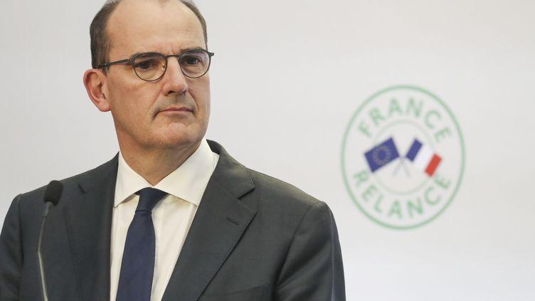 Le Premier ministre, Jean Castex, lors de la conférence de presse de présentation du plan de relance, le 3 septembre 2020 à Paris. (LUDOVIC MARIN / AFP)