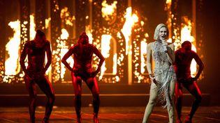 """Elene Tsagrinou, qui représente Chypre, avec la chanson """"El Diablo"""", lors de la répétition générale de la finale du concours de l'Eurovision, le 21 mai 2021. (SANDER KONING / ANP MAG / VIA AFP)"""