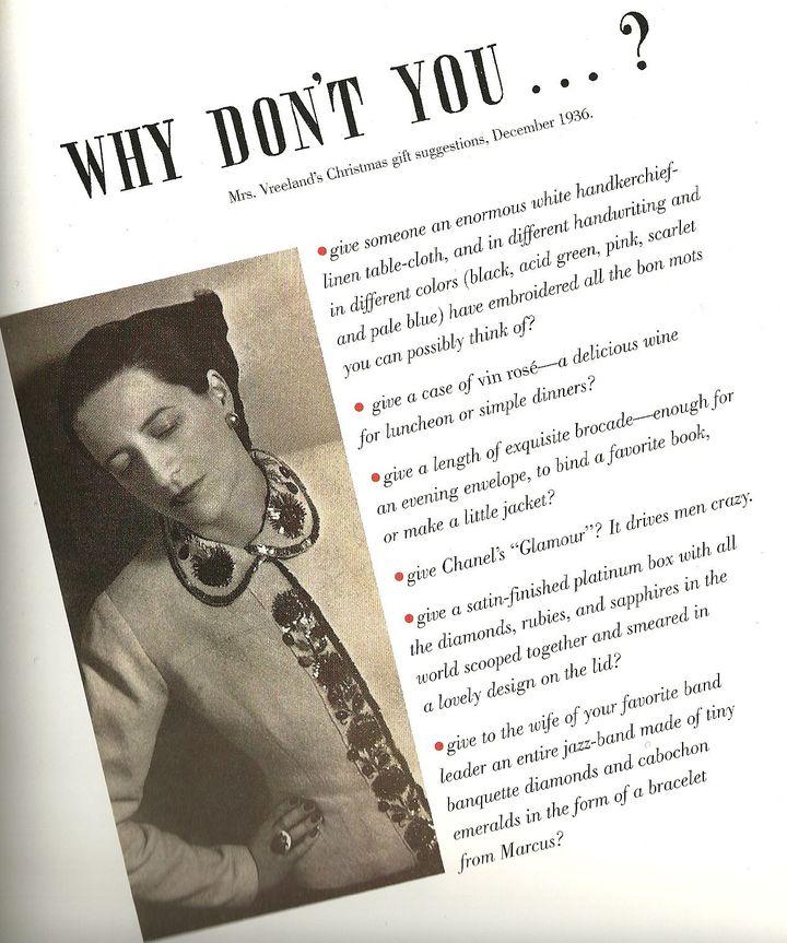 Extrait de la chronique de Diana Wreeland  (Harper's Bazaar)