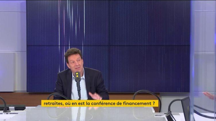 Le président du Medef, Geoffroy Roux de Bézieux, sur franceinfo lundi 10 février. (FRANCEINFO / RADIOFRANCE)