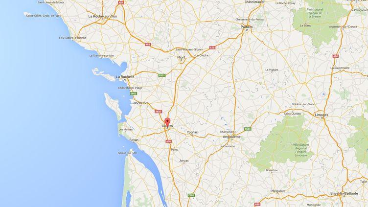 Les agriculteurs ont bloqué plusieurs axes routier permettant l'accès à la ville de Saintes (Charente-Maritime), le 8 février 2016. (GOOGLE MAPS)