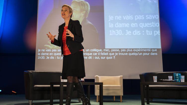 Clémentine Autain lors d'un meeting deLa France insoumise, le 7 mai 2019, àBobigny (Seine-Saint-Denis). (AFP)