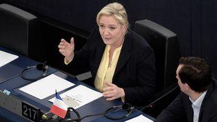 Marine Le Pen, le 15 décembre 2015 au Parlement européen de Strasbourg (Bas-Rhin). (FREDERICK FLORIN / AFP)