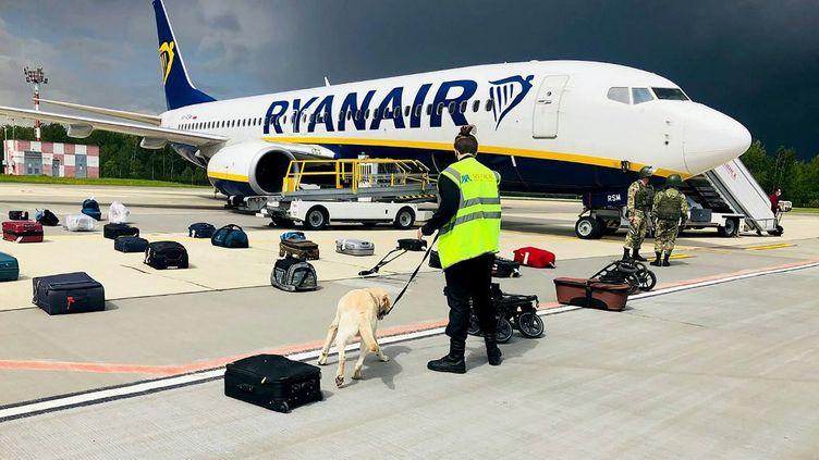 Un maître-chien biélorusse vérifie les bagages d'un Boeing 737-8AS de Ryanair stationné sur le tarmac de l'aéroport international de Minsk, le 23 mai 2021. (ONLINER.BY / AFP)
