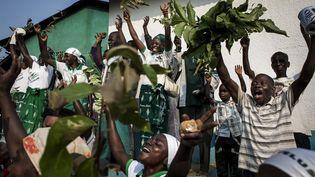 Des fidèles de l'église kimbanguistelors de la célébration de Noël, le 25 mai 2017, à Nkamba, en RDC. (JOHN WESSELS / AFP)