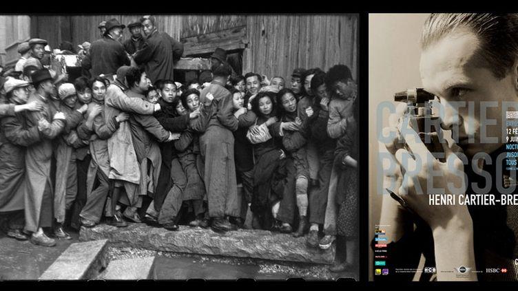 A gauche, Henri Cartier-Bresson, Foule attendant devant une banque pour acheter de l'or pendant les derniers jours du Kuomintang, Shanghai, Chine, décembre 1948,à droite, l'affiche du Centre Pompidou, à partir d'un portrait du photographe par George Hoyningen-Huene, 1935  (Henri  Cartier-Bresson / Magnum Photos, courtesy Fondation Henri Cartier-Bresson)