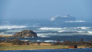 """Le paquebot """"Viking Sky"""" au large du littoral norvégien, le 23 mars 2019. (FRANK EINAR VATNE / NTB SCANPIX / AFP)"""