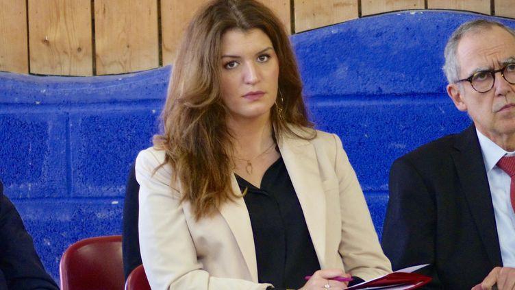 Marlène Schiappa, secrétaire d'État chargée de l'Égalité entre les femmes et les hommes et de la lutte contre les discriminations, à Bergerac (Dordogne), en février 2019. (FRANCE BLEU PÉRIGORD / RADIO FRANCE)