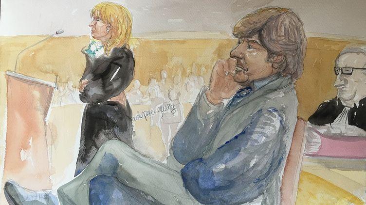Nicole et Michel Neyret, le 2 mai 2016, devant le tribunal correctionnel de Paris. (ELISABETH DE POURQUERY / FRANCETV INFO)