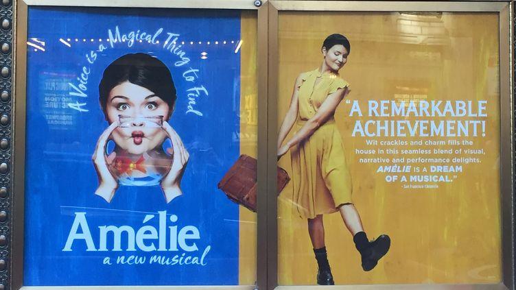 """Les affiches de la comédie musicale """"Amélie"""" au Walter Kerr Theatre à Broadway.  (THOMAS URBAIN / AFP)"""