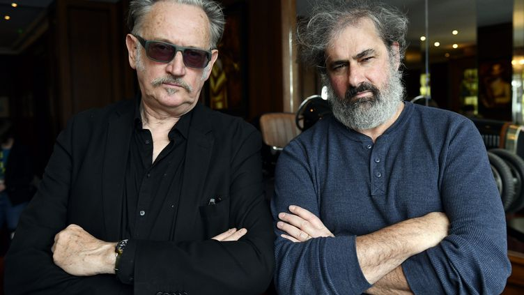 Benoît Delépine et Gustave Kervern au festival international du film fantastique de Gerardmer, le 4 février 2019 (ALEXANDRE MARCHI / MAXPPP)