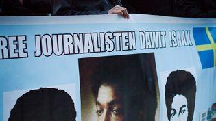 Lors d'une manifestation à Stockholm, en Suède, pour la libération du journaliste érythro-suédois Dawit Isaak, en janvier 2014. (HAMPUS ANDERSSON / TT NEWS AGENCY)