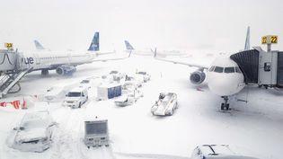Des avions à l'aéroport John F. Kennedy, à New York, lors d'une tempête de neige le 4 janvier 2018. (REBECCA BUTALA HOW / GETTY IMAGES NORTH AMERICA)