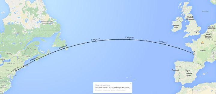 Quelque 5 700 km séparent New York de la plage de la Tremblade, en Charente-Maritime. (GOOGLE MAPS / FRANCETV INFO)