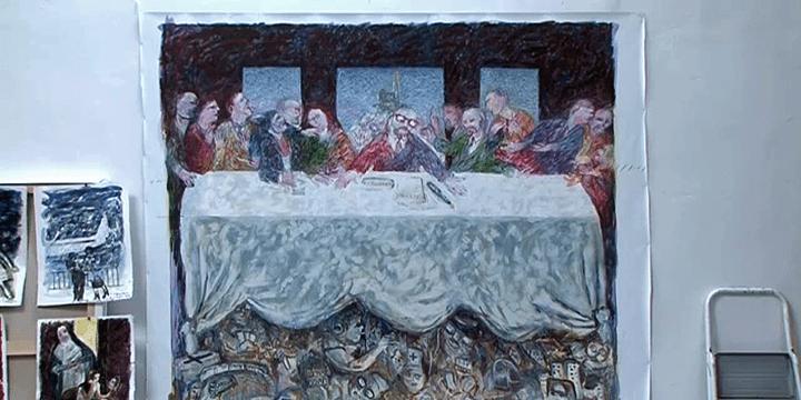 La dernière toile de Surian, meeting politique à la manière de la cène de Léonard de Vinci  (France 3 / Culturebox)