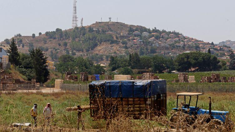 Des travailleurs dans un village au sud du Liban, à la frontière avec Israël, le 5 août 2021. (MAHMOUD ZAYYAT / AFP)