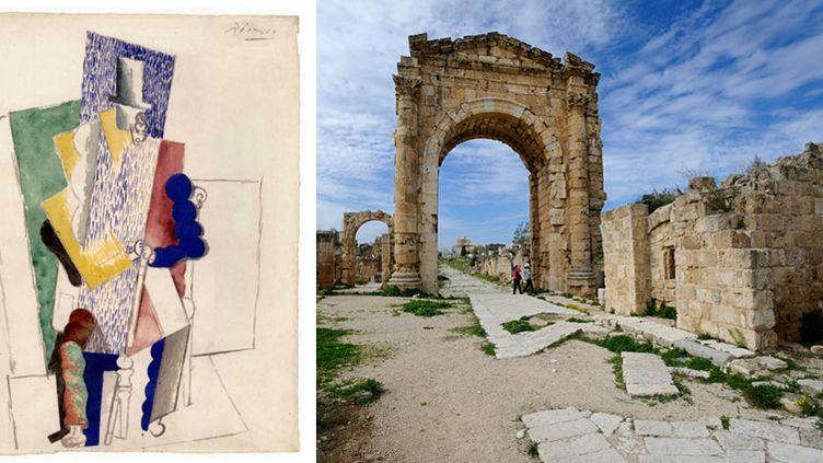 """A gauche, Picasso, """"L'Homme au gibus"""", 1914 - A droite, Tyr (Liban)  (A gauche, succession Picasso - A droite, photo Yannick Le Gal / AFP)"""