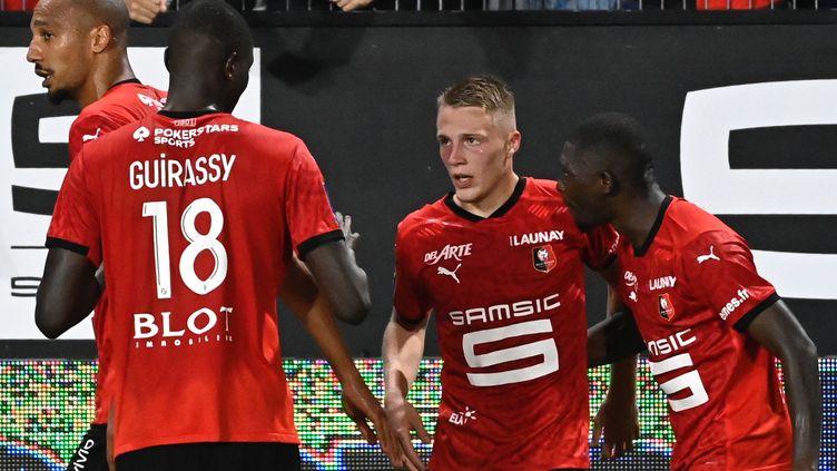 Adrien Truffert a offert la victoire à Rennes face à Monaco. (DAMIEN MEYER / AFP)