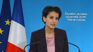 La ministre de l'Education nationale, Najat Vallaud-Belkacem, à Paris, le 22 janvier 2015. ( FRANCE TÉLÉVISIONS )