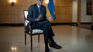 Paul Kagame, le 28 mai 2021, à Kigali au Rwanda. (SIMON WOHLFAHRT / AFP)