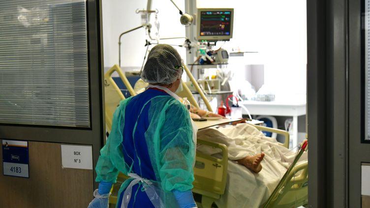Un service de réanimation Covid-19 à l'hôpital Nord de Marseille. Photo d'illustration. (GEORGES ROBERT / MAXPPP)