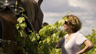Fiona Beeston au milieu de ses vignes, à Chinon. (CLOS DES CAPUCINS)